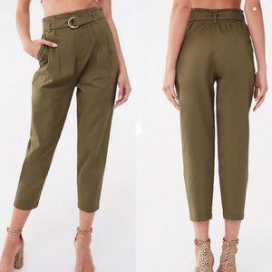 NWOT Forever 21 Olive Belted Paperbag Ankle Pants